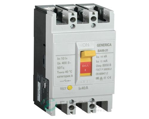 Автоматический выключатель ВА66-31 3Р 40А 18кА GENERICA SAV10-3-0040-G