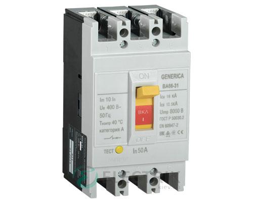 Автоматический выключатель ВА66-31 3Р 50А 18кА GENERICA SAV10-3-0050-G