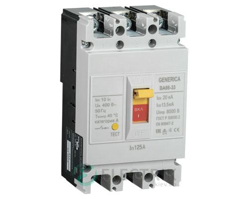Автоматический выключатель ВА66-33 3Р 125А 20кА GENERICA SAV20-3-0125-G