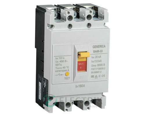 Автоматический выключатель ВА66-33 3Р 160А 20кА GENERICA SAV20-3-0160-G