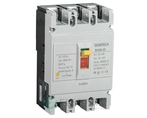 Автоматический выключатель ВА66-35 3Р 200А 25кА GENERICA SAV30-3-0200-G
