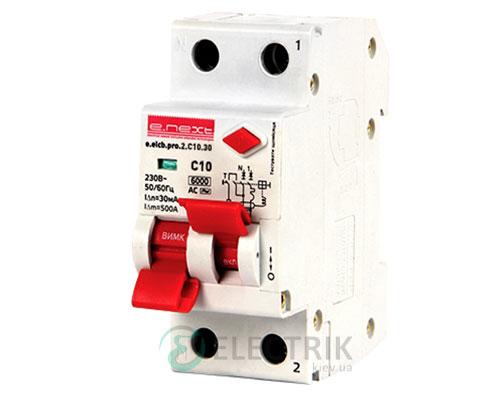 Автоматический выключатель дифференциального тока (дифавтомат) e.elcb.pro.2.C10.30, 2P 10 А 30 мА хар-ка C, E.NEXT