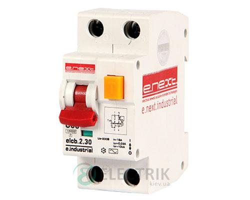 Автоматический выключатель дифференциального тока (дифавтомат) e.industrial.elcb.2.C10.30, 2P 10 А 30 мА хар-ка C, E.NEXT