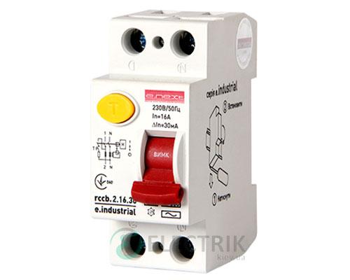 Устройство защитного отключения (УЗО) e.industrial.rccb.2.16.30, 2P 16 А 30 мА тип AC, E.NEXT