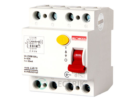 Устройство защитного отключения (УЗО) e.industrial.rccb.4.25.100, 4P 25 А 100 мА тип AC, E.NEXT