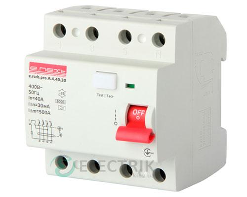 Устройство защитного отключения (УЗО) e.rccb.pro.A.4.40.30, 4P 40 А 30 мА тип A, E.NEXT