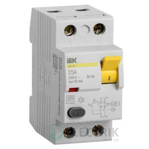 Устройство защитного отключения (УЗО) ВД1-63 2P 25 А 10 мА тип AC, IEK