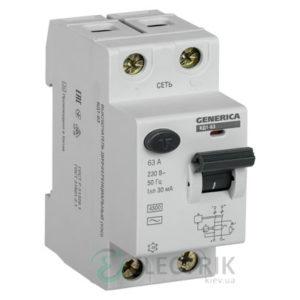 Устройство защитного отключения (УЗО) ВД1-63 2Р 63 А 30 мА тип AC, GENERICA
