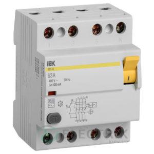 Устройство защитного отключения (УЗО) ВД1-63 4P 63 А 100 мА тип AC, IEK