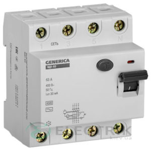 Устройство защитного отключения (УЗО) ВД1-63 4Р 63 А 30 мА тип AC, GENERICA