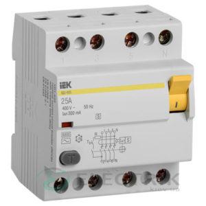 Устройство защитного отключения (УЗО) ВД1-63S 4Р 25 А 300 мА тип AC, IEK