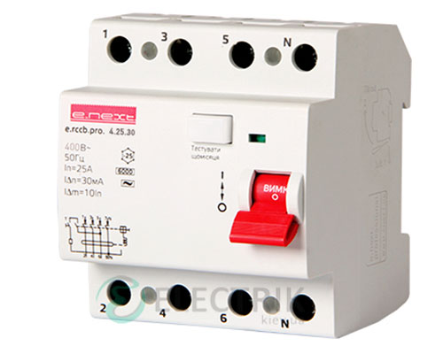Устройство защитного отключения (УЗО) e.rccb.pro.4.25.300, 4P 25 А 300 мА тип AC, E.NEXT