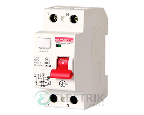 Устройство защитного отключения (УЗО) e.rccb.stand.2.25.10, 2P 25 А 10 мА тип AC, E.NEXT