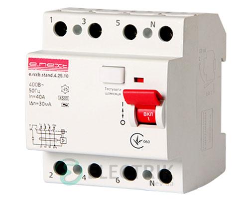 Устройство защитного отключения (УЗО) e.rccb.stand.4.25.10, 4P 25 А 10 мА тип AC, E.NEXT
