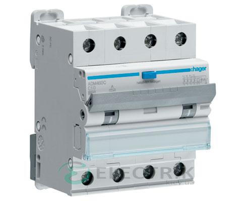 Дифференциальный автоматический выключатель ADM460C 4P 6kA C-10A 30mA тип A, Hager