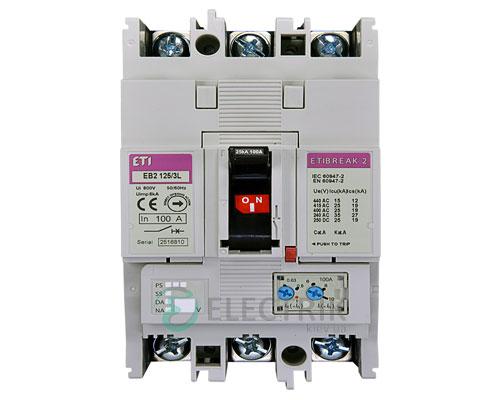 Автоматический выключатель EB2 125/3L 100А (25кА) 3p ETI 4671025