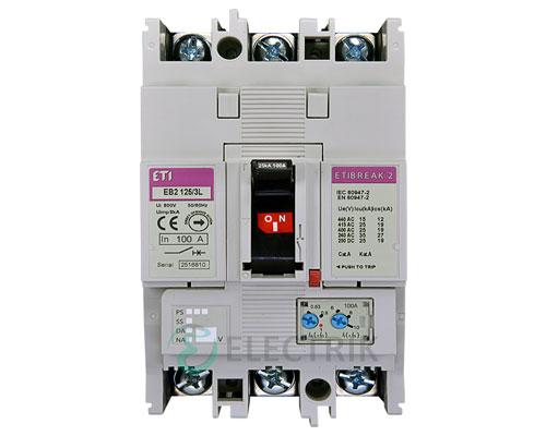 Автоматический выключатель EB2 125/3L 125А (25кА) 3p ETI 4671026