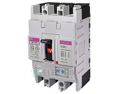 Автоматический выключатель EB2 125/3L 20А (25кА) 3p ETI 4671021