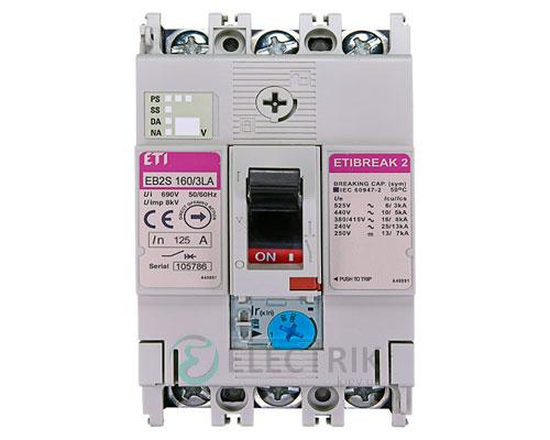 Автоматический выключатель EB2S 160/3LА 125А (16кА) 3p ETI 4671884