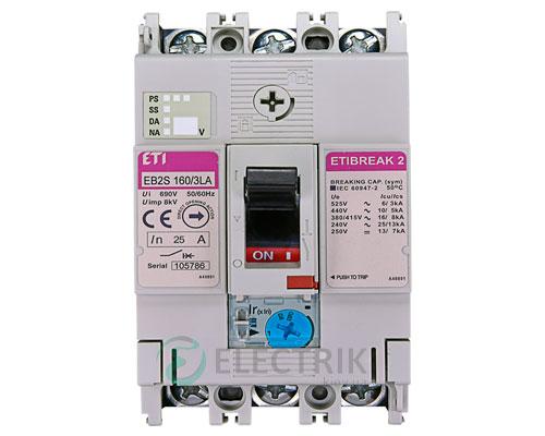 Автоматический выключатель EB2S 160/3LА 25А (16кА) 3p ETI 4671879