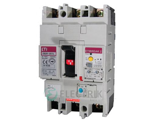 Автоматический выключатель со встроенным блоком УЗО EB2R 125/3L 100А (25кА) 3p ETI 4671505