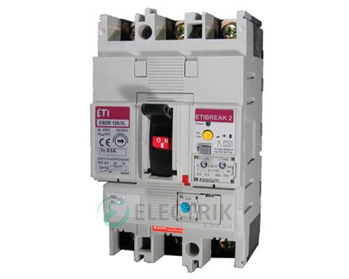 Автоматический выключатель со встроенным блоком УЗО EB2R 125/4L 125А (25кА) 4p ETI 4671512