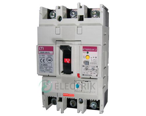 Автоматический выключатель со встроенным блоком УЗО EB2R 250/3L 160А (25кА) 3p ETI 4671581