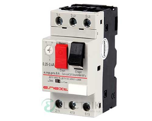 Автоматический выключатель защиты двигателя e.mp.pro.0.4, 3P In=0,4А Ir=0,25-0,4А, E.NEXT