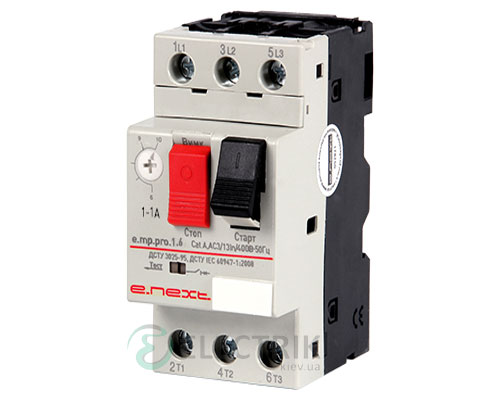 Автоматический выключатель защиты двигателя e.mp.pro.1.6, 3P In=1,6А Ir=1-1,6А, E.NEXT