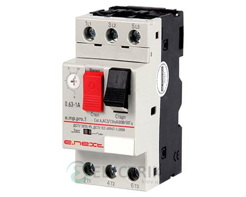 Автоматический выключатель защиты двигателя e.mp.pro.1, 3P In=1А Ir=0,63-1А, E.NEXT