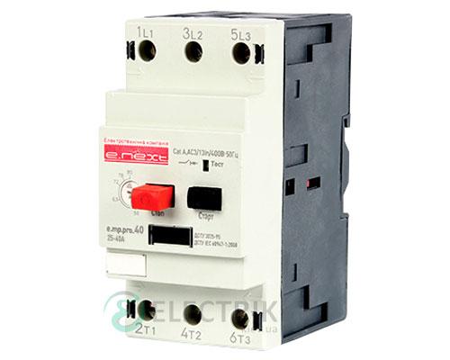 Автоматический выключатель защиты двигателя e.mp.pro.40, 3P In=40А Ir=25-40А, E.NEXT