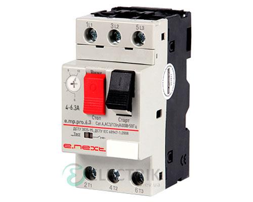 Автоматический выключатель защиты двигателя e.mp.pro.6.3, 3P In=6,3А Ir=4-6,3А, E.NEXT
