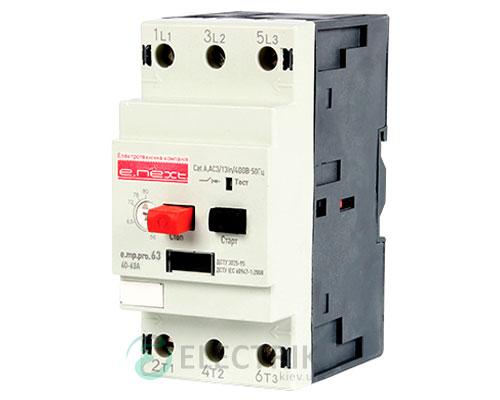Автоматический выключатель защиты двигателя e.mp.pro.63, 3P In=63А Ir=40-63А, E.NEXT