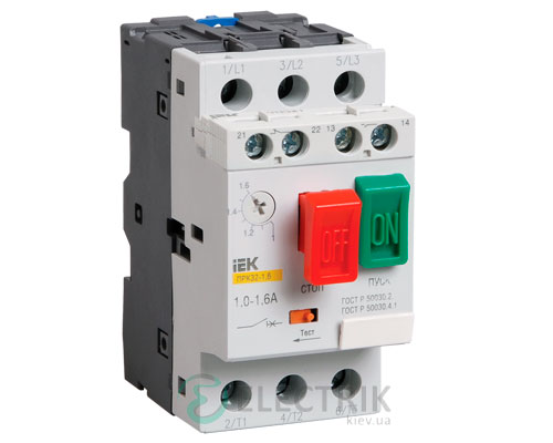 Пускатель ручной кнопочный ПРК32-1,6 In=1,6A Ir=1-1,6A Ue=660В