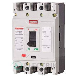 Силовой автоматический выключатель e.industrial.ukm.100SL.100, 3р, 100А 20кА, E.NEXT