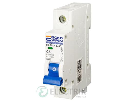 Автоматический выключатель ВА-2017 1P 50А характеристика C, АСКО-УКРЕМ A0010170008