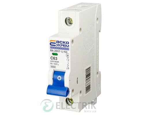 Автоматический выключатель ВА-2017 1P 63А характеристика C, АСКО-УКРЕМ A0010170009
