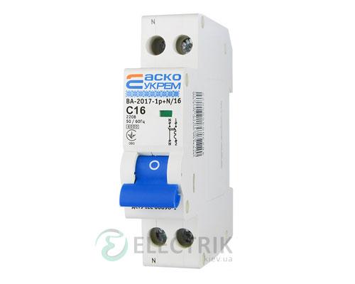 Автоматический выключатель ВА-2017 1P+N 16А характеристика C, АСКО-УКРЕМ A001017001012