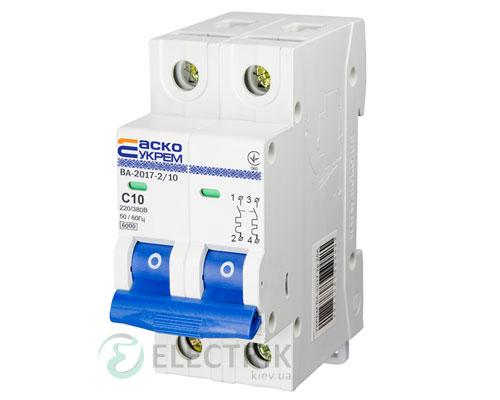 Автоматический выключатель ВА-2017 2P 10А характеристика C, АСКО-УКРЕМ A0010170011