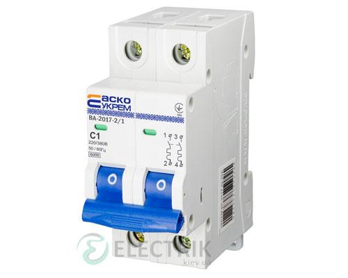Автоматический выключатель ВА-2017 2P 1А характеристика C, АСКО-УКРЕМ A0010170033