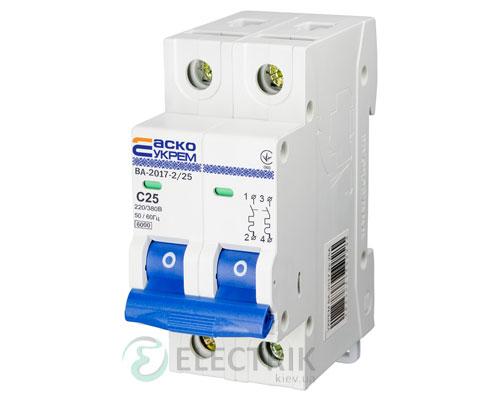 Автоматический выключатель ВА-2017 2P 25А характеристика C, АСКО-УКРЕМ A0010170014