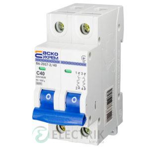 Автоматический выключатель ВА-2017 2P 40А характеристика C, АСКО-УКРЕМ A0010170016