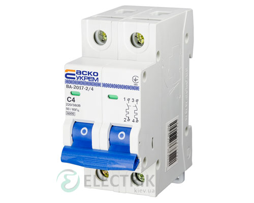 Автоматический выключатель ВА-2017 2P 4А характеристика C, АСКО-УКРЕМ A0010170036