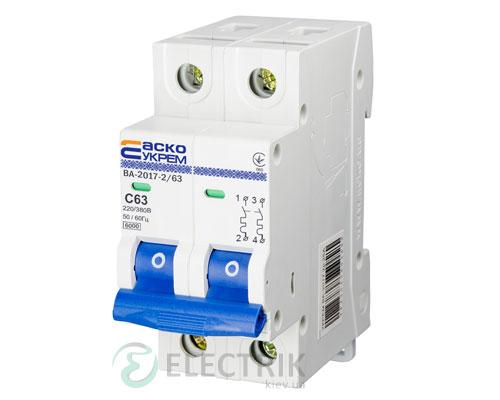 Автоматический выключатель ВА-2017 2P 63А характеристика C, АСКО-УКРЕМ A0010170018