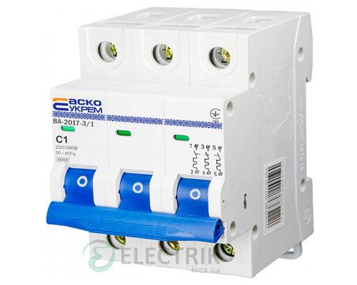 Автоматический выключатель ВА-2017 3P 1А характеристика C, АСКО-УКРЕМ A0010170038