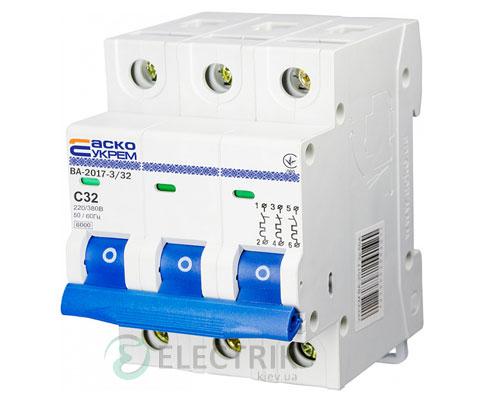 Автоматический выключатель ВА-2017 3P 32А характеристика C, АСКО-УКРЕМ A0010170024