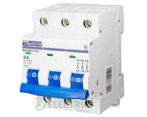 Автоматический выключатель ВА-2017 3P 4А характеристика C, АСКО-УКРЕМ A0010170041