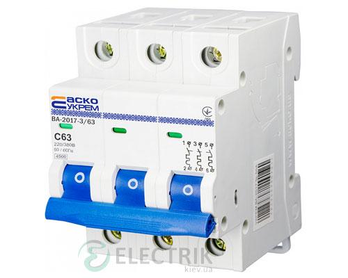 Автоматический выключатель ВА-2017 3P 63А характеристика C, АСКО-УКРЕМ A0010170027