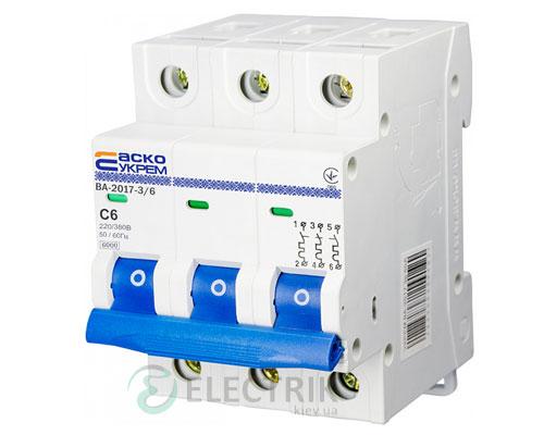 Автоматический выключатель ВА-2017 3P 6А характеристика C, АСКО-УКРЕМ A0010170019