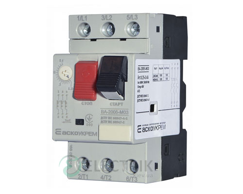 Автоматический выключатель защиты двигателя ВА-2005 М03 0,25-0,40А, АСКО-УКРЕМ